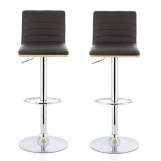 An Image of Morsun Bar Stools In Oak And Brown PU In A Pair
