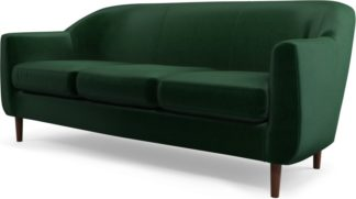 An Image of Custom MADE Tubby 3 Seater Sofa, Bottle Green Velvet with Dark Wood Legs