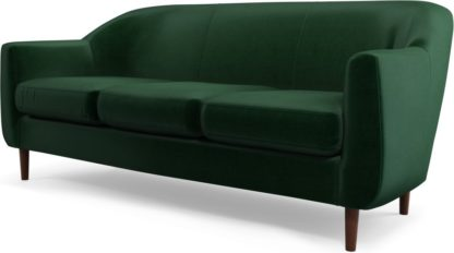 An Image of Custom MADE Tubby 3 Seater Sofa, Bottle Green Velvet with Dark Wood Legs