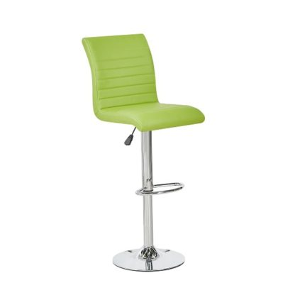 An Image of Ripple Bar Stool In Lime Green Faux Leather With Chrome Base