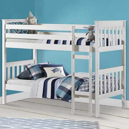 An Image of Portland Wooden Bunk Bed In White