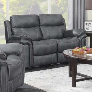An Image of Rasalas Fabric 2 Seater Sofa In Charcoal Grey