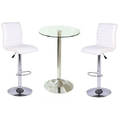 An Image of Gino Bar Table In Clear Glass And 2 Ripple Bar Stools In White