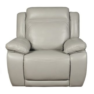 An Image of Baxter Recliner Sofa Chair In Light Grey Leather Air Fabric