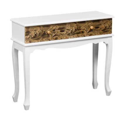 An Image of Bali Console Table In Wood With 2 Drawers