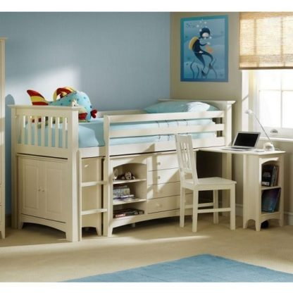 An Image of Amani Sleep Station In Stone White With Left Hand Ladder
