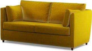 An Image of Custom MADE Milner Sofa Bed with Memory Foam Mattress, Saffron Yellow Velvet