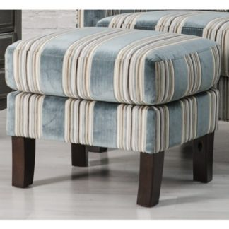 An Image of Humphrey Fabric Footstool In Blue With Wooden Feet