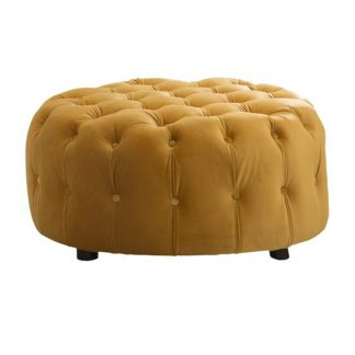 An Image of Reedy Velvet Deep Buttoned Foot Stool In Mustard Finish