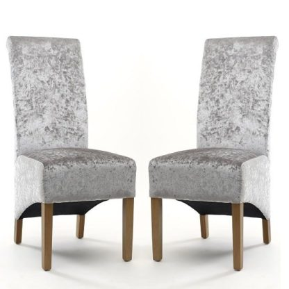 An Image of Arora Fabric Dining Chair In Silver Velvet In A Pair