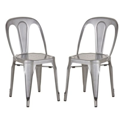 An Image of Dschubba Grey Metal Dining Chairs In Pair