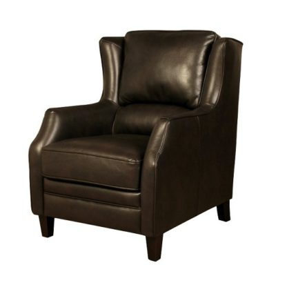 An Image of Halton Sofa Chair In Brown Leather Look Fabric With Wooden Legs