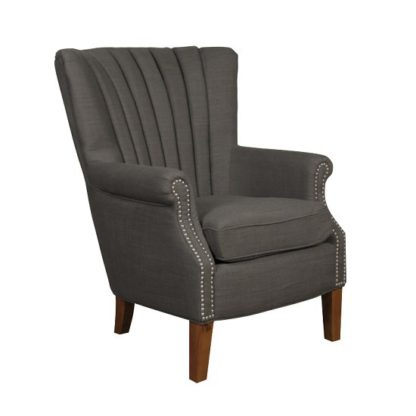 An Image of Silon Fabric Armchair In Charcoal And Dark Brown Legs