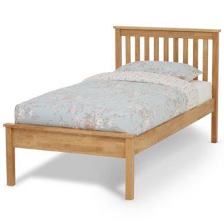 An Image of Heather Hevea Wooden Single Bed In Honey Oak