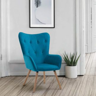 An Image of Willow Fabric Bedroom Armchair In Sapphire