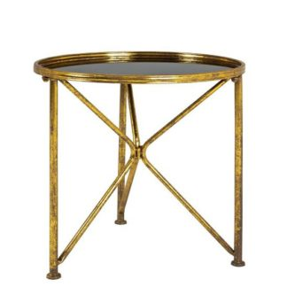 An Image of Neve Glass End Table Wide In Black With Antique Gold Frame