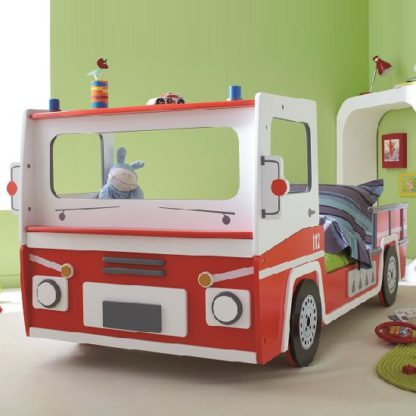 An Image of Turbo Boys Childrens Car Bed In Red And White