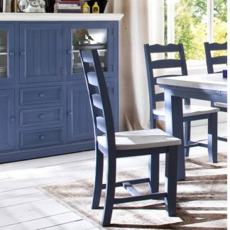 An Image of Falcon Dining Chair In Blue And White Pine