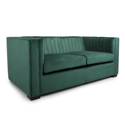 An Image of Torin 2 Seater Sofa In Green Brushed Velvet