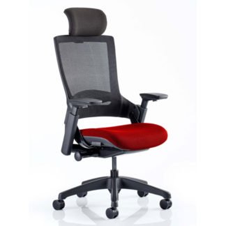 An Image of Molet Black Back Headrest Office Chair With Bergamot Cherry Seat