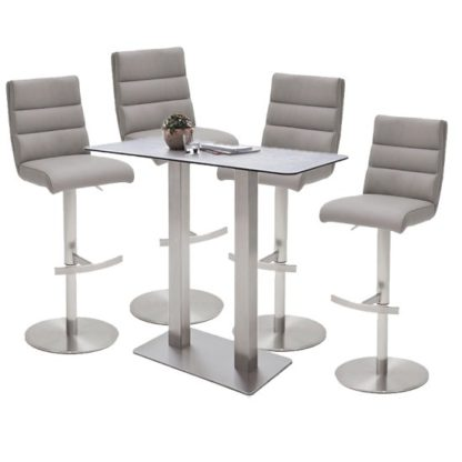 An Image of Soho Glass Bar Table With 4 Hiulia Ice Grey Leather Stools
