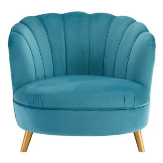 An Image of Lusitania Blue Velvet Chair With Gold Wooden Legs