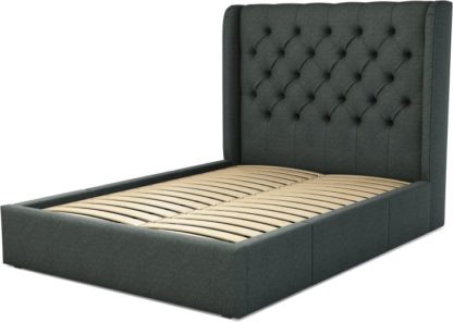 An Image of Custom MADE Romare Double size Bed with Drawers, Etna Grey Wool