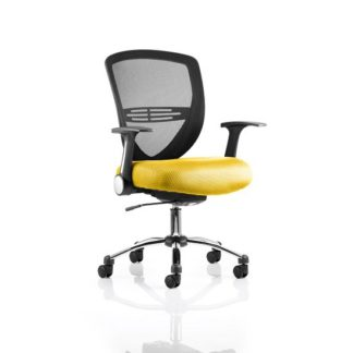An Image of Avram Home Office Chair In Yellow With Castors