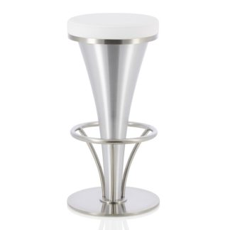 An Image of Romania Bar Stool In White Faux Leather And Stainless Steel Base