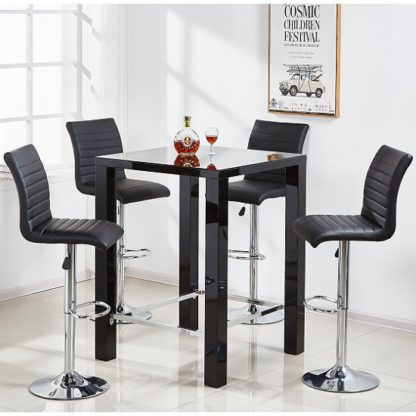 An Image of Jam Glass Bar Table Set Square In Black Gloss 4 Ripple Stools