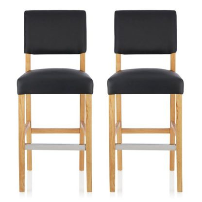 An Image of Vibio Bar Stools In Black PU With Oak Legs In A Pair