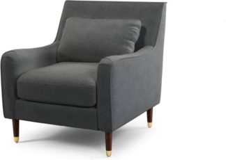 An Image of Content by Terence Conran Oksana Armchair, Plush Shadow Grey Velvet with Dark Wood Brass Leg
