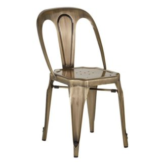 An Image of Dschubba Metal Dining Chair In Brass