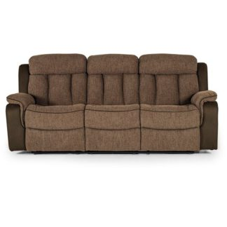 An Image of Karr Three Seater Recliner Fabric Sofa In Brown