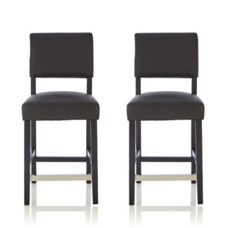 An Image of Vibio Bar Stools In Black Faux Leather In A Pair