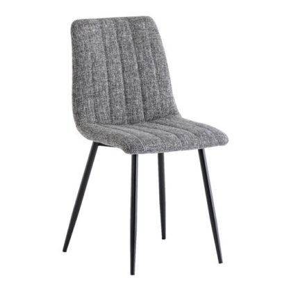An Image of Virgo Fabric Dining Chair In Grey