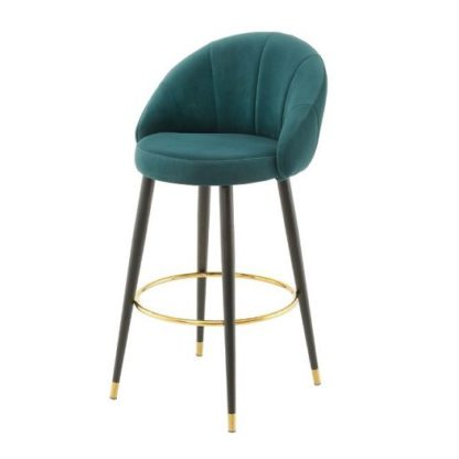 An Image of Hambree Highback Bar Stool In Teal Finish With Black Legs