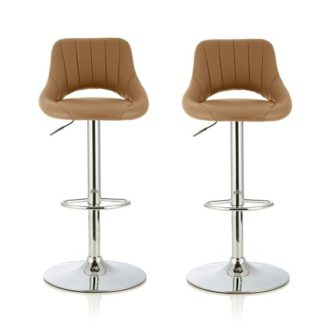 An Image of Shello Bar Stool In Taupe Faux Leather And Chrome Base In A Pair