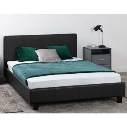 An Image of Prado Faux Leather Double Bed In Black