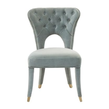 An Image of Sadalsuud Blue Velvet Feature Chair With Wooden Legs
