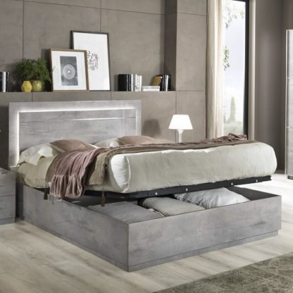 An Image of Abby King Size Ottoman Bed In Grey Marble Effect Gloss And Light