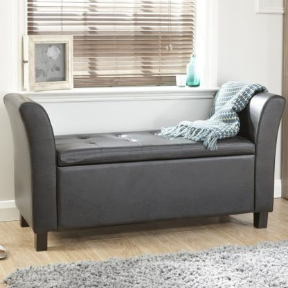 An Image of Charter Ottoman Seat In Black Faux Leather With Wooden Feet