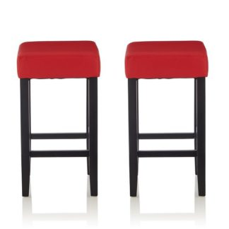 An Image of Newark Bar Stools In Red PU And Black Legs In A Pair