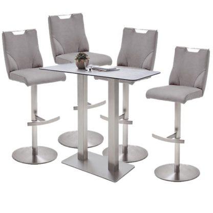 An Image of Soho Glass Bar Table With 4 Jiulia Ice Grey Stools