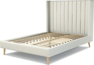 An Image of Custom MADE Cory Double size Bed, Putty Cotton with Oak Legs