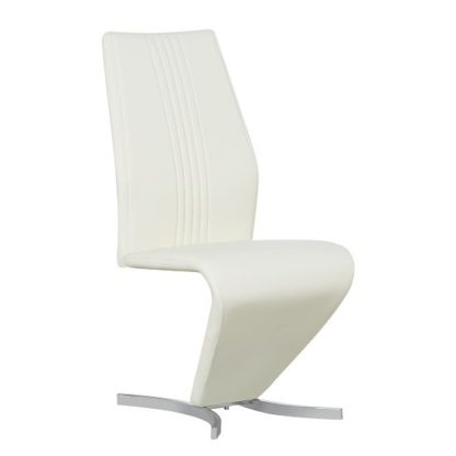 An Image of Gia Dining Chair In Cream Faux Leather With Chrome Base