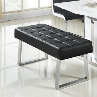 An Image of Austin Dining Bench In Black Faux Leather With Chrome Base