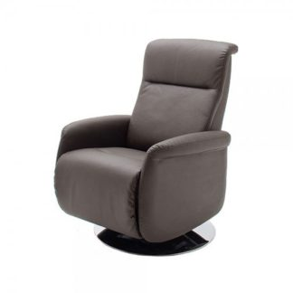 An Image of Almeida Rotating Reclining Chair In Brown Leather And Metal Base