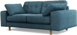 An Image of Content by Terence Conran Tobias, 2 Seater Sofa, Textured Weave Aegean Blue, Light Wood Leg