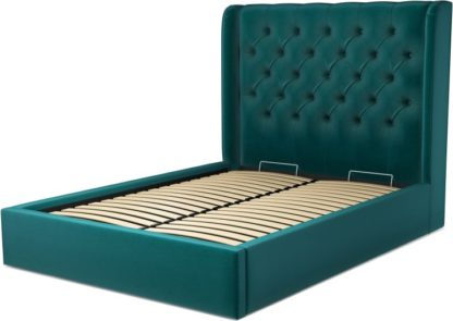 An Image of Custom MADE Romare Double size Bed with Ottoman, Tuscan Teal Velvet